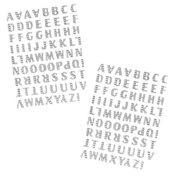 Glitzer-Sticker, Alphabet 1, 11cm x 15cm, silber, mit Schmucksteinen, 2 Bogen