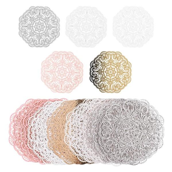 Laser-Kartenaufleger, Zierdeckchen, Ornament 16, Ø 14cm, 220 g/m², 5 Farbtöne, 20 Stück