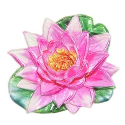 Wachsornament Seerose, farbig, geprägt, 7,5 x 8 cm