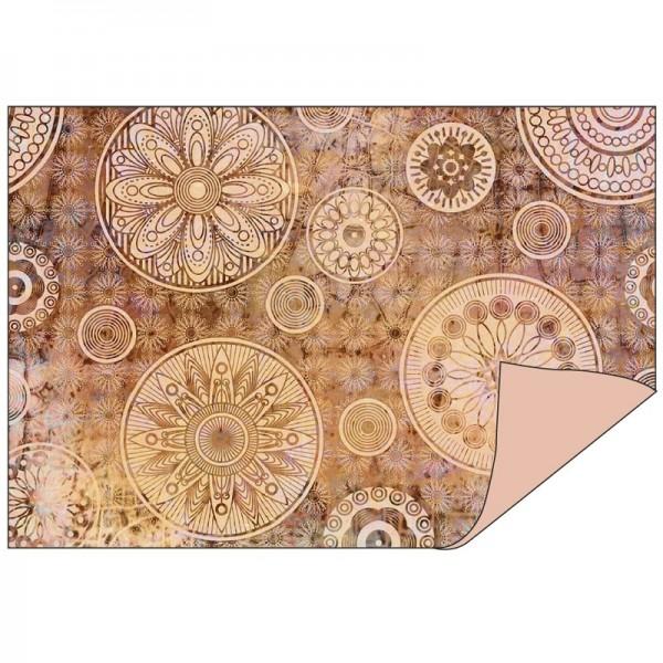 Faltpapiere Duo-Design 8, 10cm x 15cm, Ornamente/apricot, 50 Stück