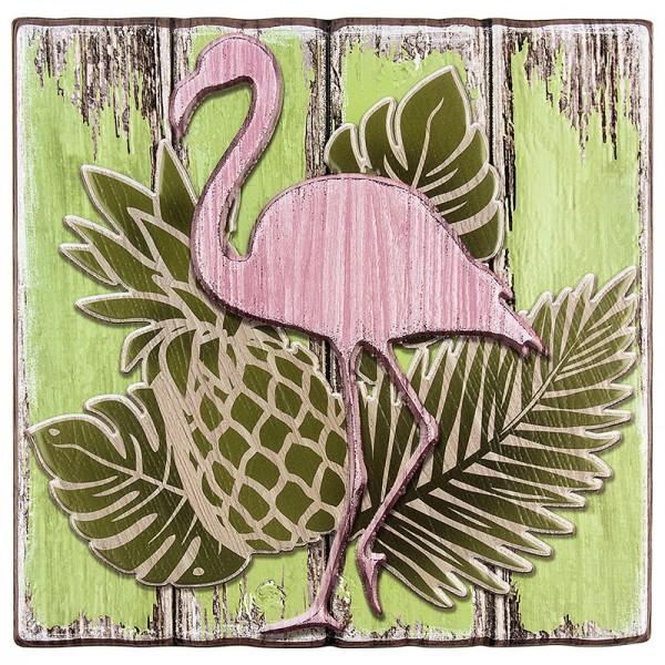 Relief-Sticker in Holz-Optik, Flamingo auf Holzpaneelen, 18 cm x 17,5 cm
