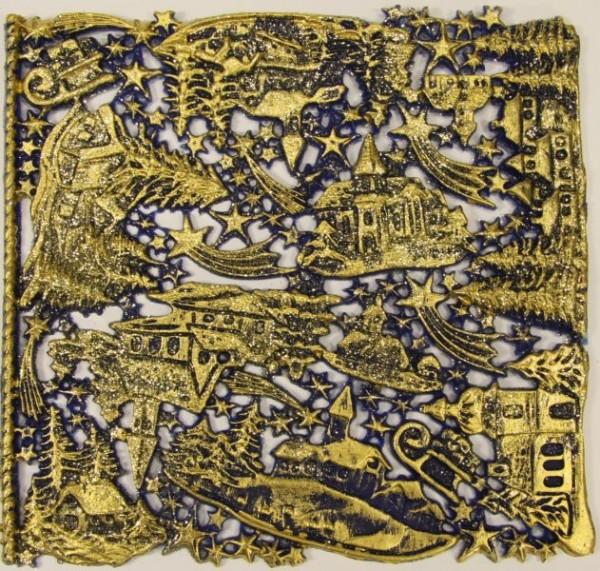 Wachsornament-Platte Winterdörfer, 16 x 16 cm, dunkelblau-gold