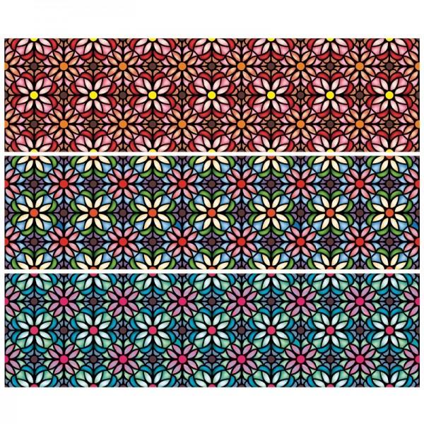 """Zauberfolien """"Tiffanyeffekt Blumen"""", Schrumpffolien für Ø10cm, 9cm hoch, 6 Stück"""