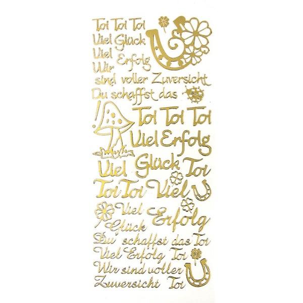 """Sticker, Schriften, """"Viel Glück/Erfolg"""", uvm., Perlmuttfolie, gold"""
