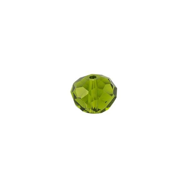 Perlen, Rondelle, facettiert, 0,6cm x 0,4cm, olivgrün, 30 Stück