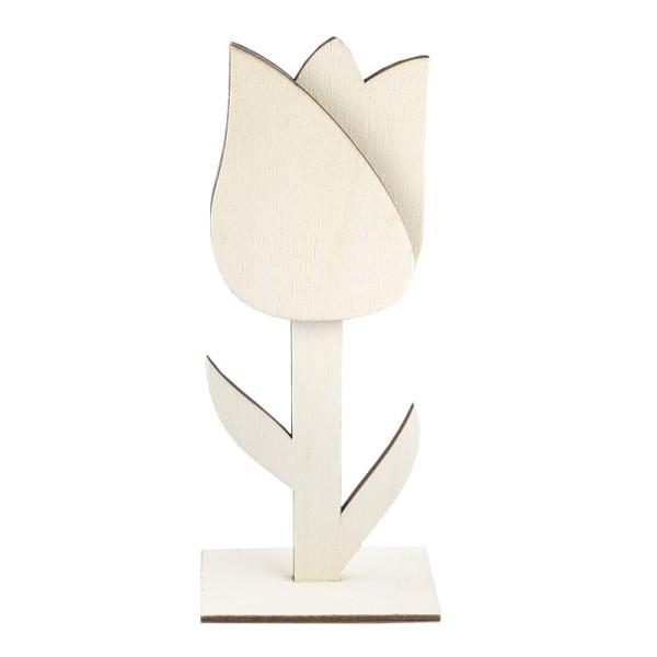 Deko-Tulpe aus Holz zum Aufstellen, 18cm x 7,4cm x 4cm