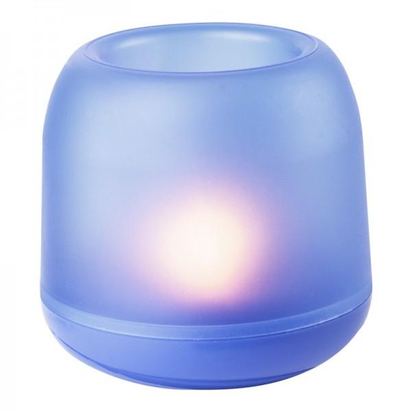 LED-Windlicht aus Kunststoff, mit Flackerlicht, inkl. Batterien, 7 cm, blau