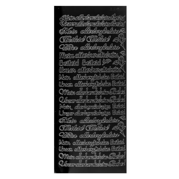 Sticker, Schrift, Mein/Unser allerherzlichstes Beileid, schwarz