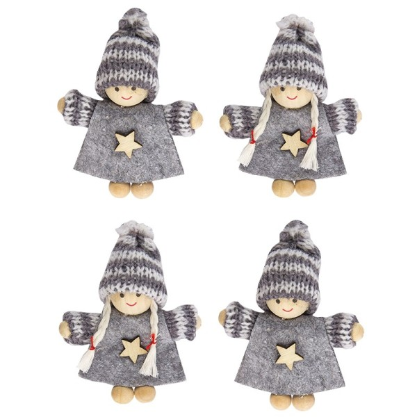 Winter-Püppchen, Rosa & Charly, 9cm hoch, 4 Stück