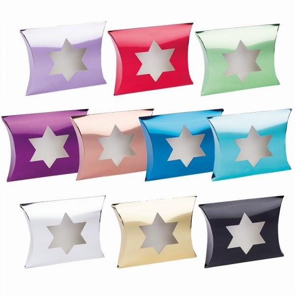 Kissentaschen mit Stern-Ausstanzung, 14cm x 15cm x 11,5cm, Spiegelkarton, 10 Stück