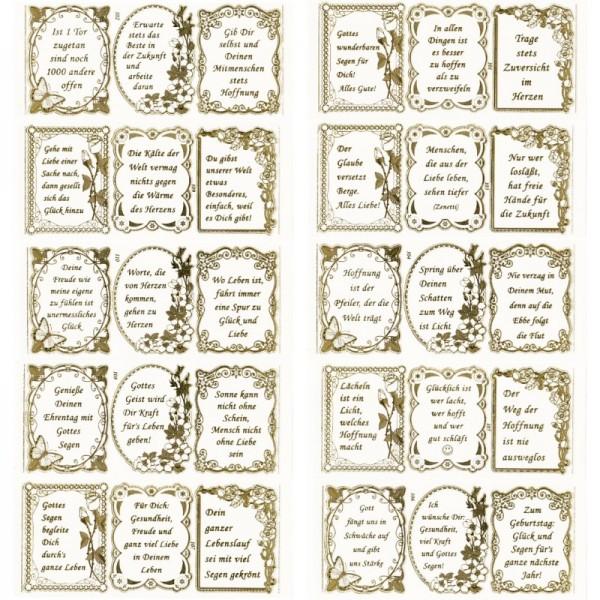Gravur-Sticker, Liebe, Glaube, Hoffnung, transparent/gold, 10 Bogen