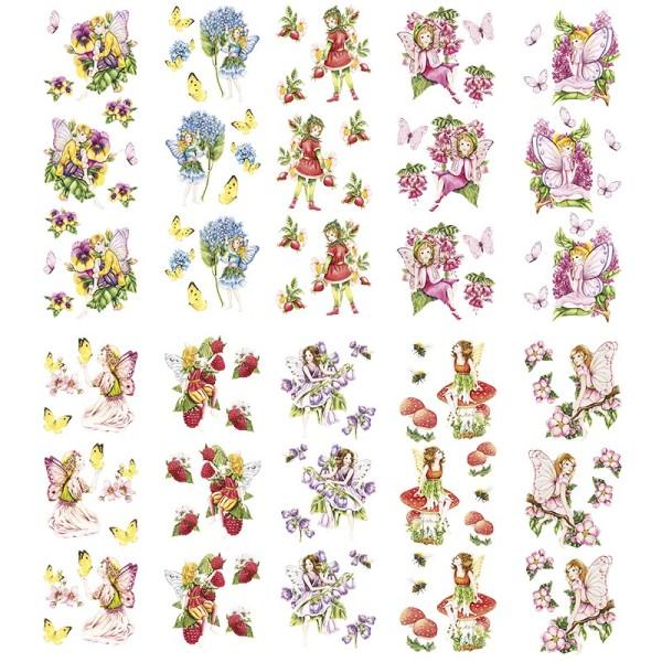 Transparent-Stickerbogen, Zauberhafte Elfen, verschiedene Designs, 10cm x 30cm, 10 Bogen