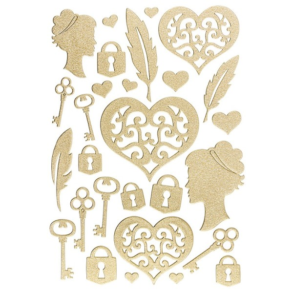 """3-D Sticker """"Deluxe Accessoires"""", verschiedene Größen, selbstklebend, gold"""