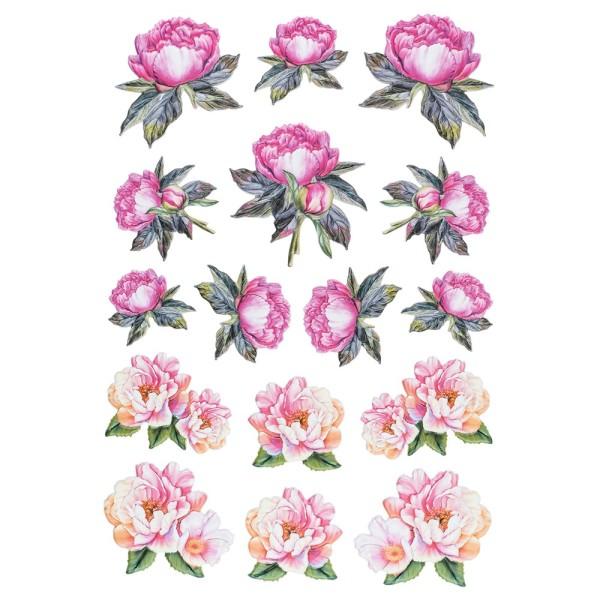 3-D Relief-Sticker, Blumen 1, 21cm x 30cm, verschiedene Größen, selbstklebend