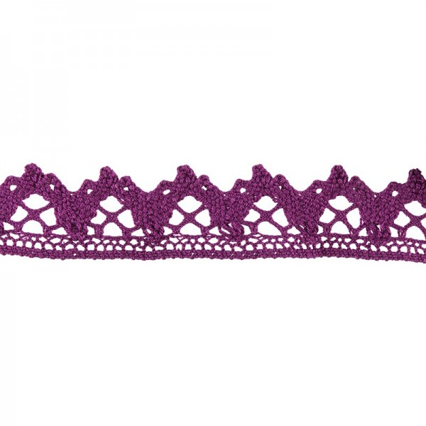 Häkelspitze Design 6, 2,1cm breit, 2m lang, aubergine