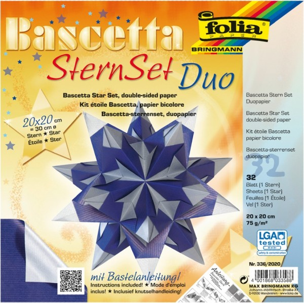 Bascetta Stern Set, DuoDesign, 15x15cm, 32 Blatt, silber/blau