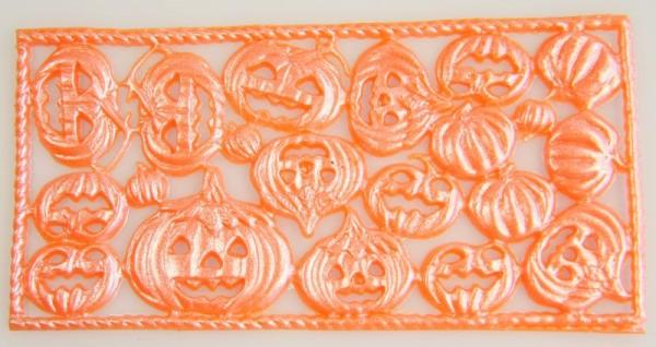 Wachsornamente Kürbisse, orange-perlmutt, 8 x 16 cm