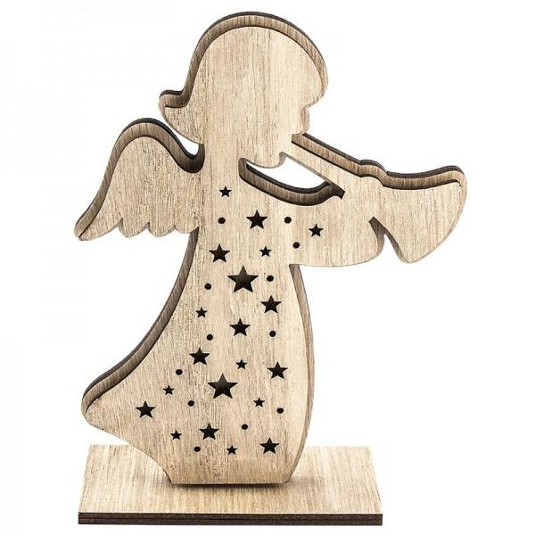 3-D Engel aus Holz, Design 1, 12,3cm x 16,5cm, zum Aufstellen, 3-teilig