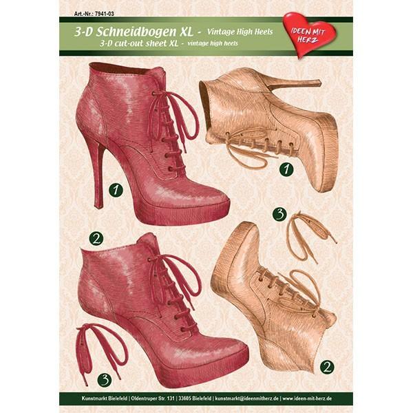 3-D Bogen XL-High-Heels, Vintage, zum Ausschneiden