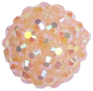 Kristall-Perlen, Ø18 mm, 5 Stück, pfirsich-irisierend