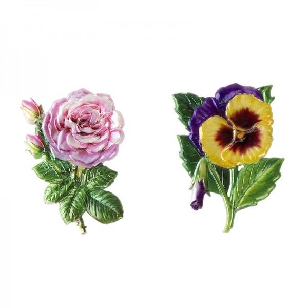 Wachsornamente, Stiefmütterchen & Rose, 2 Stück