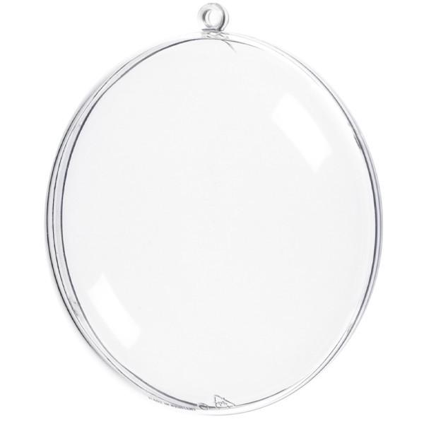 Acryl-Medaillons, transparent, Ø 11cm, 2-teilig, mit Aufhängeöse, 2 Stück