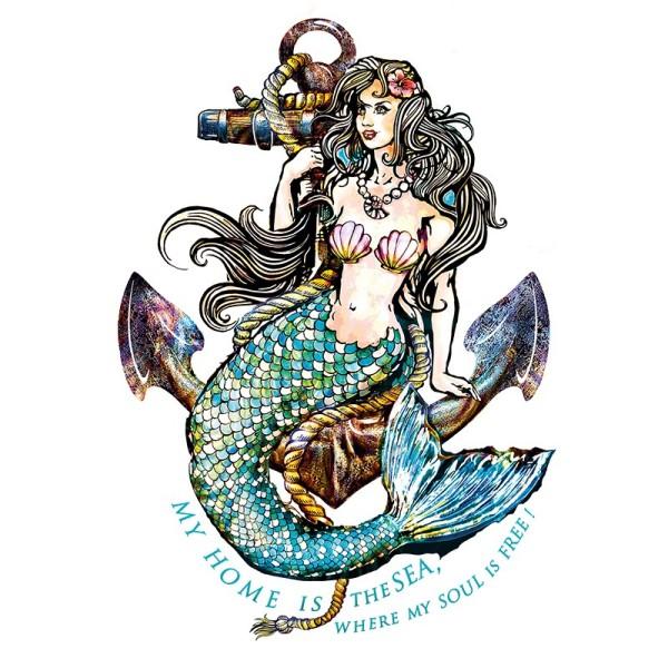 Color Bügeltransfer, DIN A4, Meerjungfrau