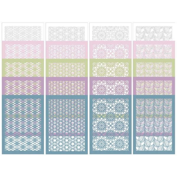 Laser-Kartenaufleger, Ornamentik 1, 14,8cm x 10,5cm, 4 versch. Designs, 5 Pastelltöne, 20 Stück