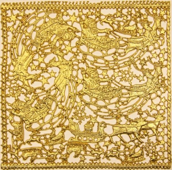 Wachsornament-Platte Rentierschlitten, 16 x 16 cm, gold