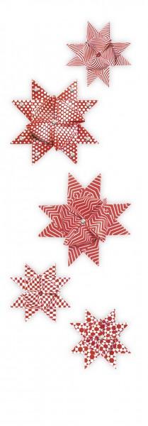 """Fröbelsterne """"Geometrisch"""", rot/weiß, 60 Faltstreifen"""