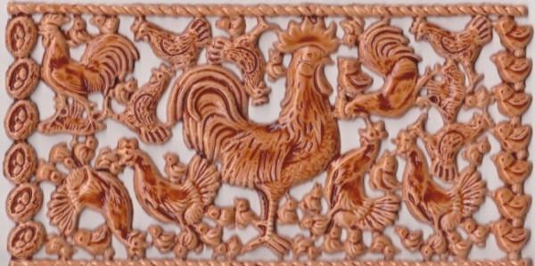 Wachsornament-Platte Hühner, 16 x 8 cm, braun bernstein