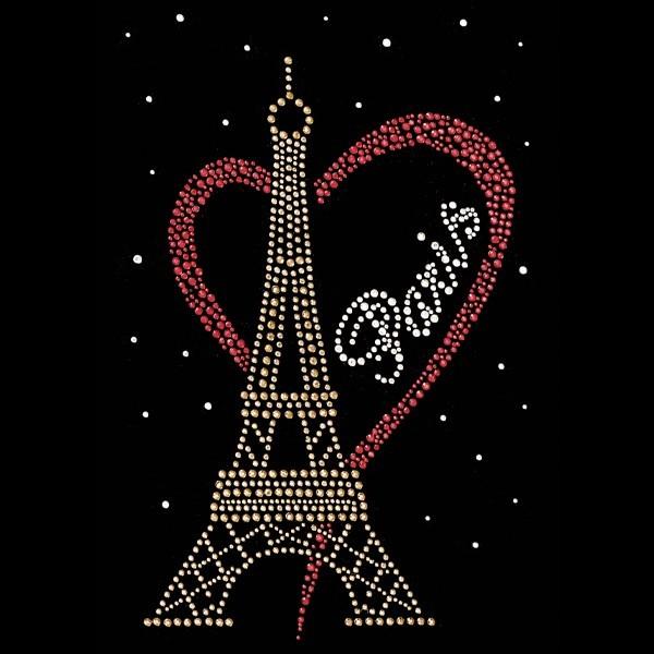 Bügelstrass-Design, DIN A4, mehrfarbig, I love Paris