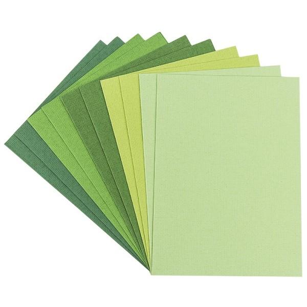 """Grußkarten """"Anna"""" in Leinen-Optik, C6, 5 Farben, Grüntöne, inkl. Umschläge, 10 Stück"""