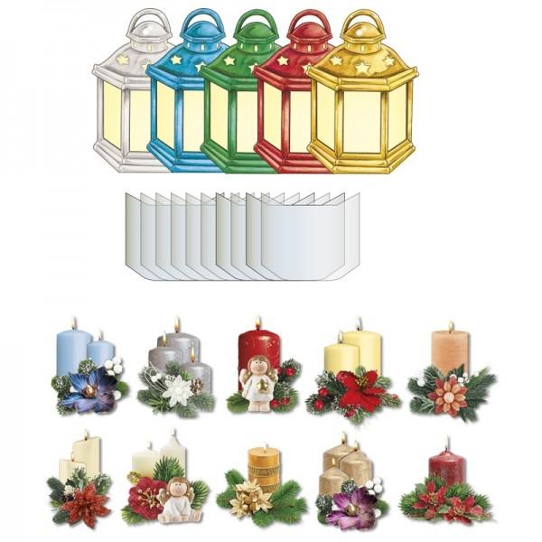 "3-D Sichtfolien-Grußkarten ""Laterne"", inkl. 3-D Motive Kerzen ""Winterzeit"" & Umschläge, 40-teilig"