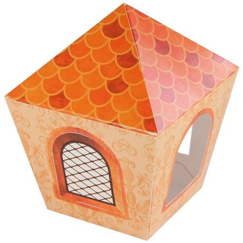 Deko-Laterne, Bastelbogen, 8x8x10cm, orange