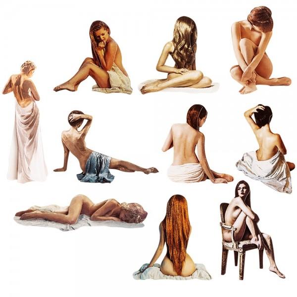 3-D Motive, Weiblicher Akt, 3,5-12cm, 10 Motive