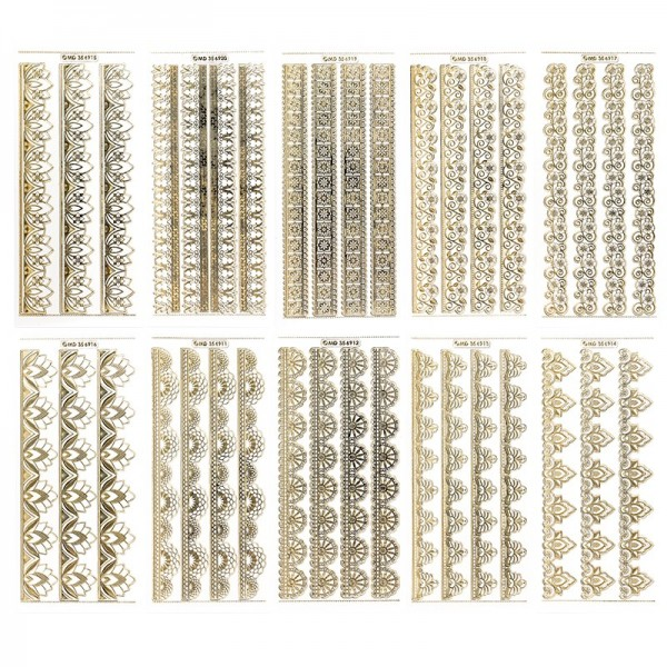Gravur-Sticker, Premium-Bordüren, transparent/gold, 10 Bogen
