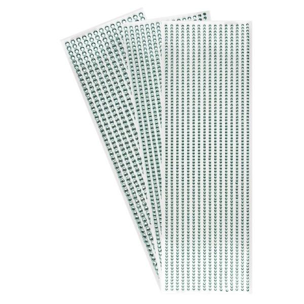Schmuckstein-Bordüren, rund: Ø 3mm, Ø 4mm, Ø 5mm, selbstklebend, facettiert, mint, 3 Bogen