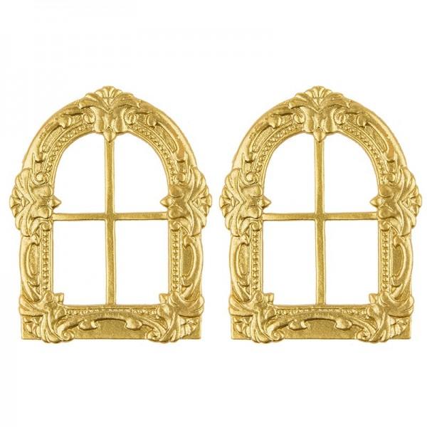 Wachsornament, Fenster, 9x7cm, gold, 2er Set