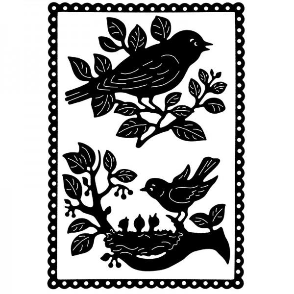 Stanzschablonen, Vögel auf Zweigen, 3 Stück