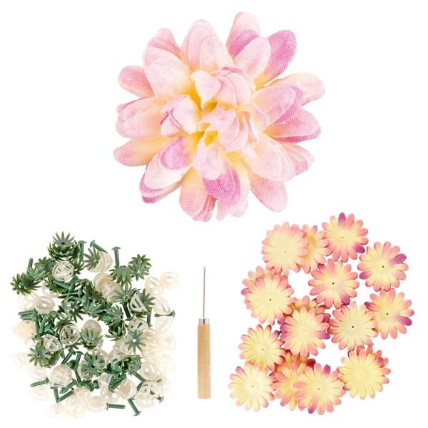Deko-Blüte Dahlie, zum Selbstgestalten, rosa, 551-teilig, 50 Stück