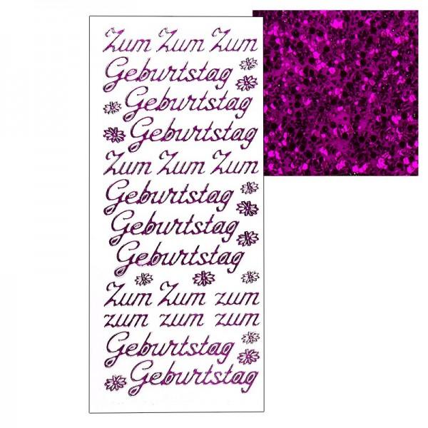 """Microglitter-Sticker, """"Zum Geburtstag"""", pink"""
