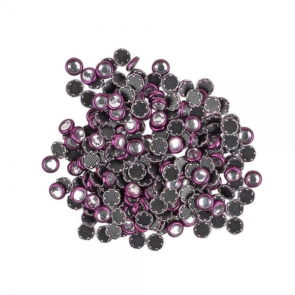 Hot-Fix Glas-Kristalle zum Aufbügeln, Ø 4mm, aubergine, 200 Stück