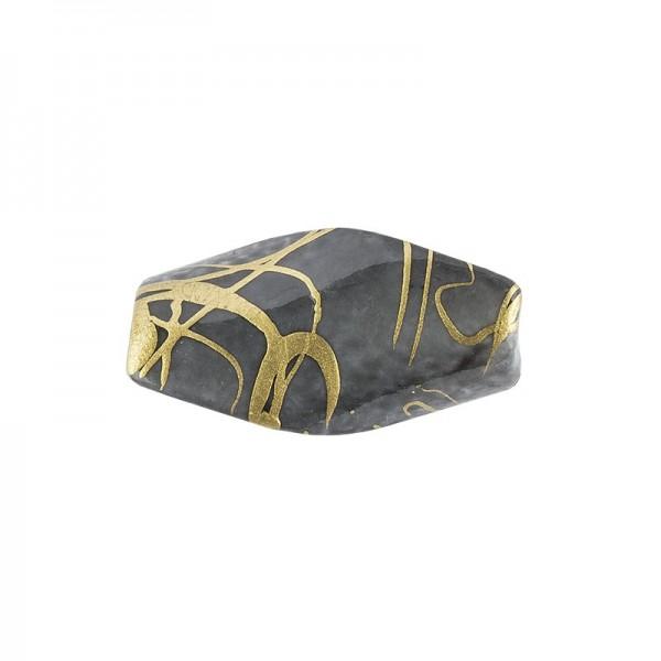 Gedrehte Perlen mit Gold-Marmorierung, 18mm, 20 Stück, anthrazit