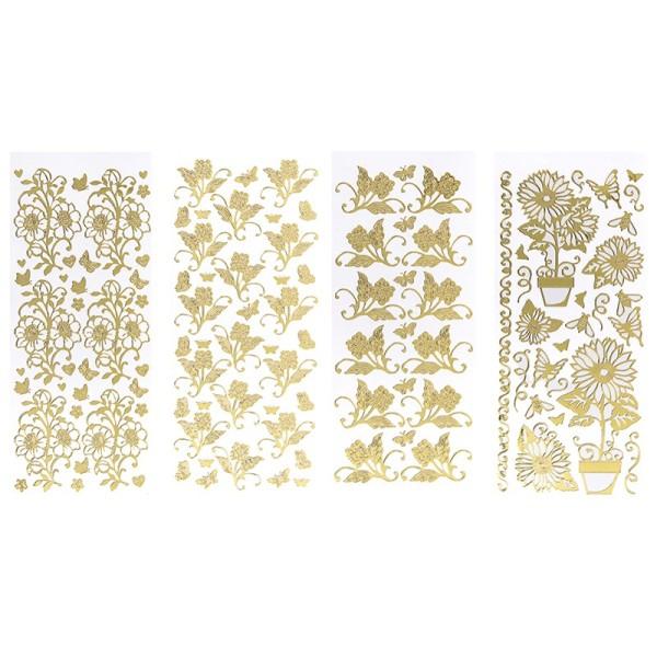 Stickerbogen, Blumen, Spiegelfolie, gold, 4 Stück