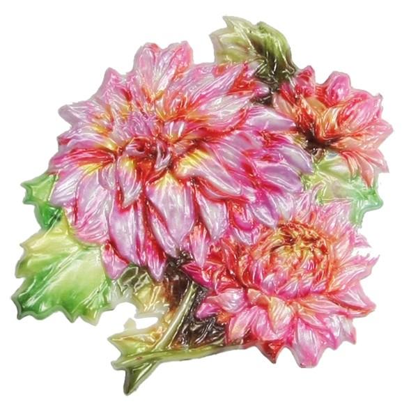 Wachsornament Dahlie, farbig, geprägt, 7,5 x 7,5 cm
