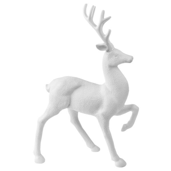 Winter-Deko, Rohling, Hirsch 5, 7cm x 20cm x 31cm, weiß