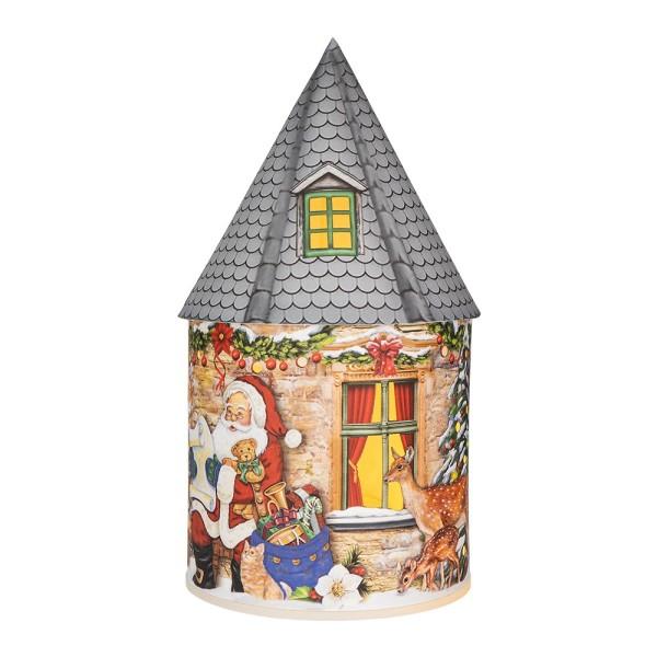 LED-Lichthaus, Nostalgische Weihnacht 5, Ø 11cm, 22cm hoch, inkl. Draht-Lichterkette, mit Timer