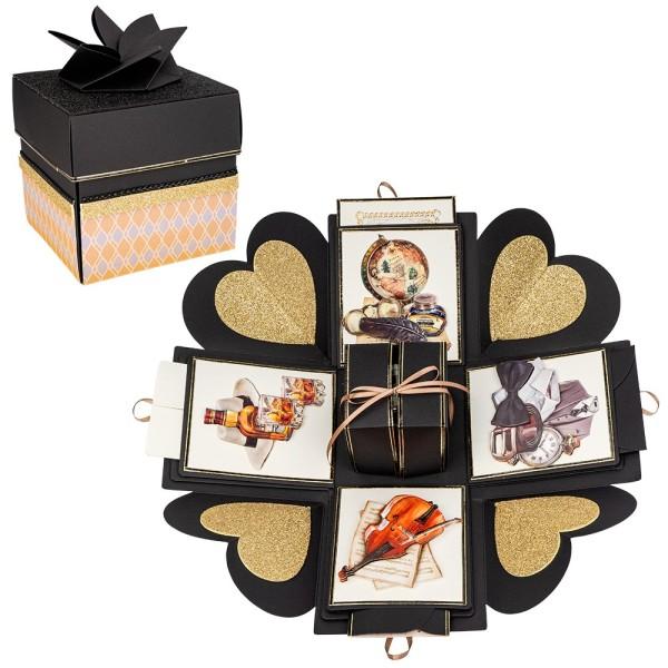 Überraschungsbox, schwarz, 12,5cm x 12,5cm x 12,5cm, 24-teilig