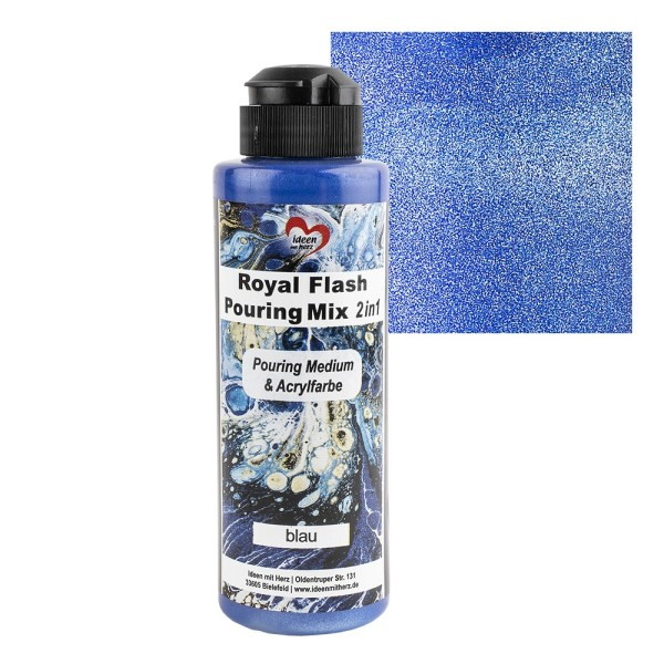 Royal Flash Pouring Mix, 2 in 1, Pouring Medium & Acrylfarbe, blau, 180ml